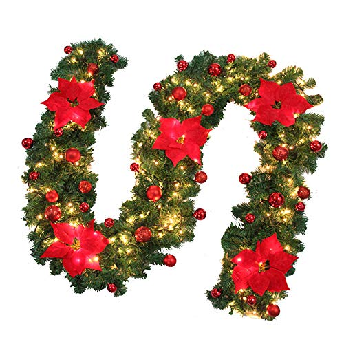 78Henstridge 9ft Pre-lit Decorated Christmas Garlands for Fireplace Stairs Led Lighted Xmas Garland with Gold/blue/red Flowers Battery Operated (Not Included) Artificial Wreath Décor (Red, 1)