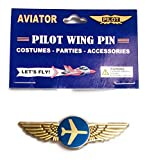 Aviator Kids Airplane Pilot Wing Plastic Pin Party Favor Gold