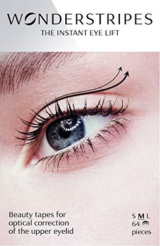 "Wonderstripes Eye lid Lifter, Eye Tape Lifts Droopy, Sagging Upper Eye Tape, Instant Hooded Eyelid Strips Size Medium 64 strips 1.02"""