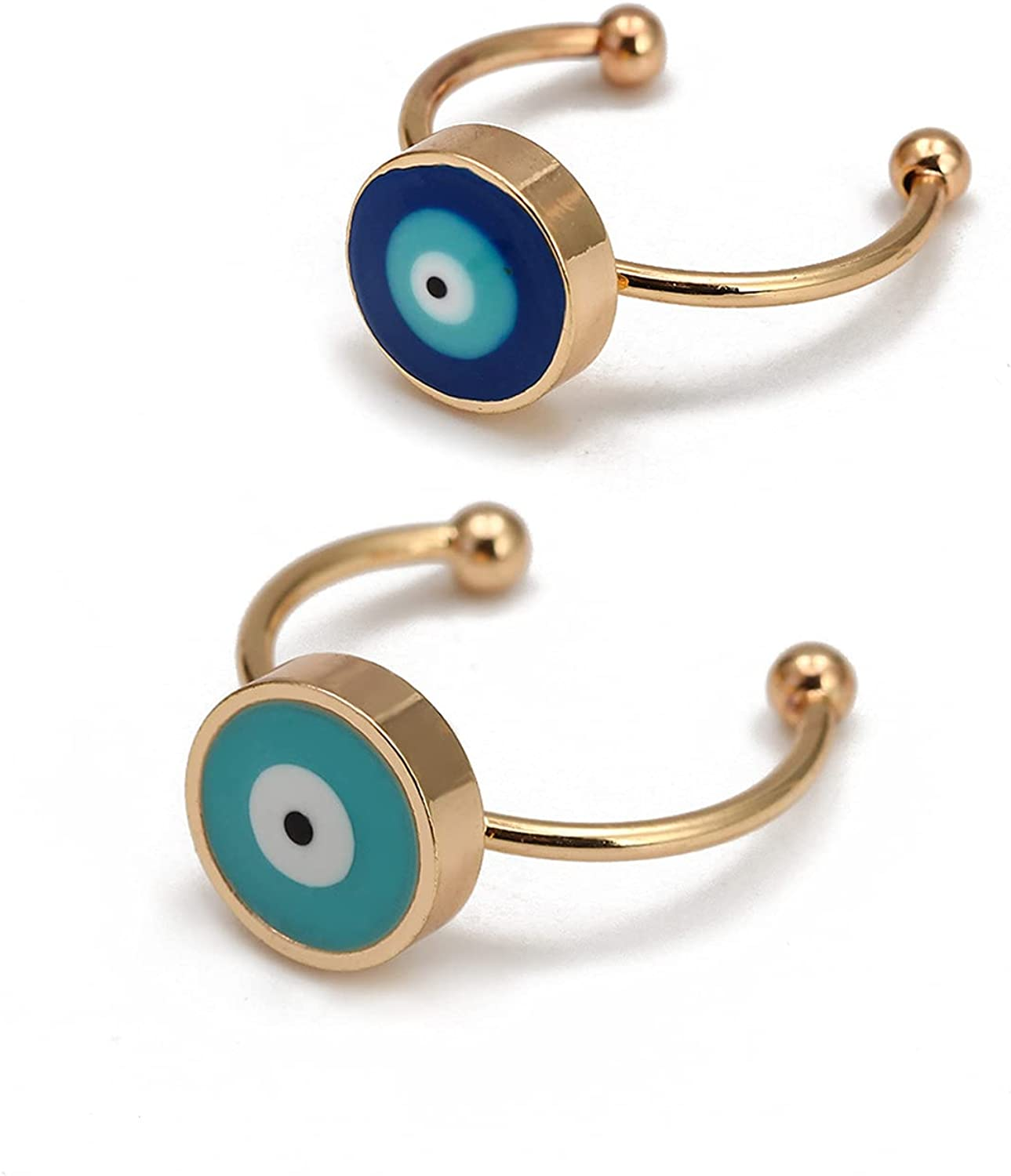 COLORFUL BLING Classic Gold Plated Turkish Lucky Symbol Evil Eye Open Statement Rings for Women Protection Adjustable Size Stackable Ring 2Pcs/Pack