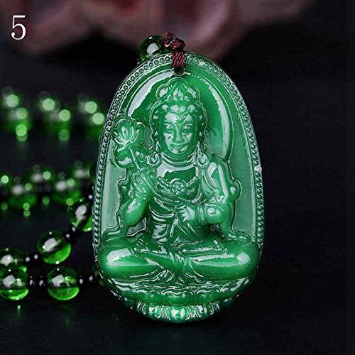 Joyería 3A Piedra Natural Obsidiana Guanyin Buda Colgante Collar Lucky Amuleto Collar de Cadena de Bola para Mujer Hombres Cristal púrpura, Gris Rosado pálido