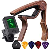 Guitar Tuner and Guitar Capo, Clip-On Tuner with Rosewood Color Capo for Acoustic Electric Guitar Bass Ukulele