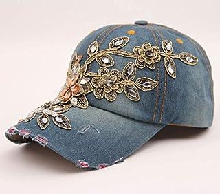 DUOLUO 手作りのゴールドシルクフラワーデコレーションモデリングデニム野球帽ヨーロッパとアメリカの潮の女性の夏の日よけカジュアル帽子
