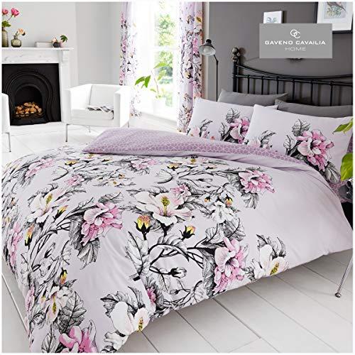 Gaveno Cavailia Floral Duvet Cover Quilt Bedding Set With Pillow Case, Reversible, Poly Cotton, Eden Purple, King Bed Size