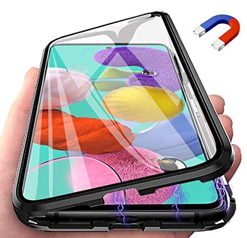 Ptny Cover 360 Gradi per Xiaomi Redmi Note 9S, 360° Magnetica Custodia[Pannello in Trasparente Vetro Temperato], Metallo Bumper Antiurto Full Body Case, Protezione per Display Integrata - Nero