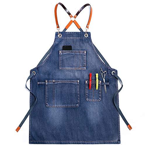 Gewachste Jeans Schürze Mit Taschen Für Frauen Und Männer -Waschstil | Einstellbar S Bis XXL Schürze,Blue b
