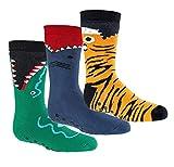 6 Paar Ökotex Kinder Stoppersocken, ABS Socken für Mädchen & Jungen, Strümpfe mit Noppensohle, viele schöne Muster (Gefährliche Tiere, 27-30)