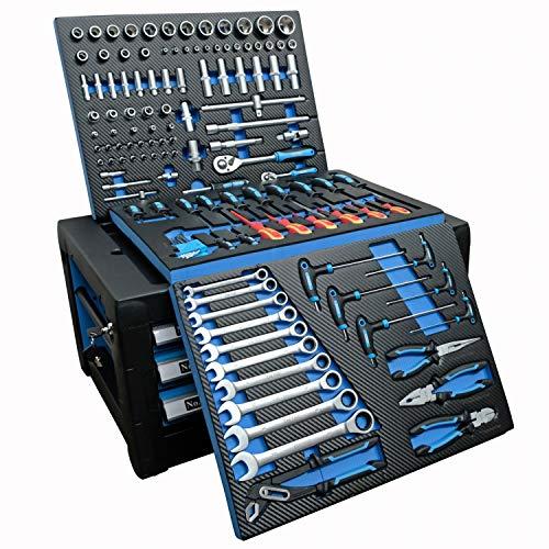 DeTec. Werkzeugkiste 2033 Carbon mit Werkzeug | Werkzeugkasten in blau | 3 Schubladen inkl. 129 tlg. Werkzeugsortiment - 2
