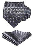 HISDERN Check Tie Taschentuch Jacquard gewebte Krawatte Einstecktuch Herren-Accessoires