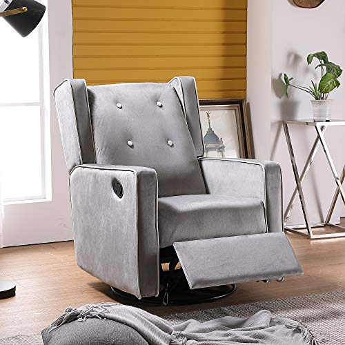 HOMMOO Swivel Glider Rocker Recliner Chairs, Manual Reclining Chair for Living Room, Single Sofa Home Theater Seating for Elderly (Grey)