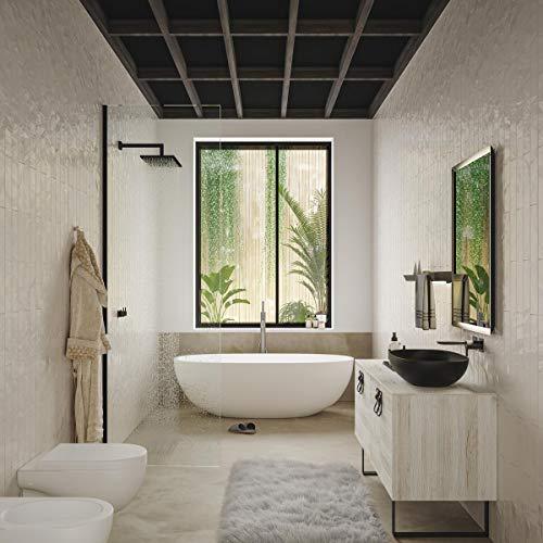 Dafne Italian Design Badezimmermöbel Modern mit Waschbecken auf dem Boden - Kastanie Seife mit Füßen aus Metall Schwarz matt