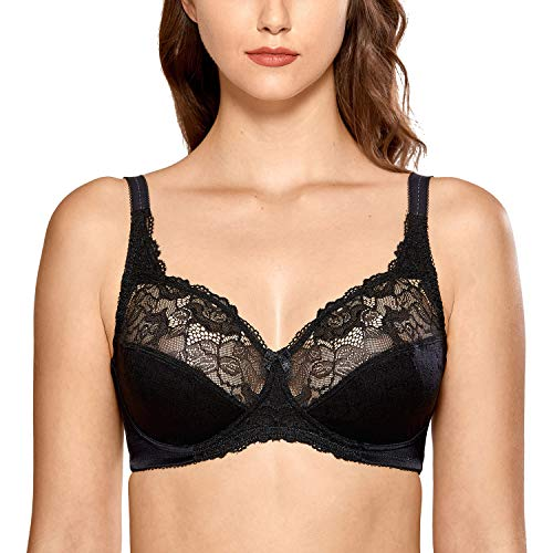 DELIMIRA Women's Lace Minimizer Bras Unlined Full Coverage Wireless Bra Black 42E