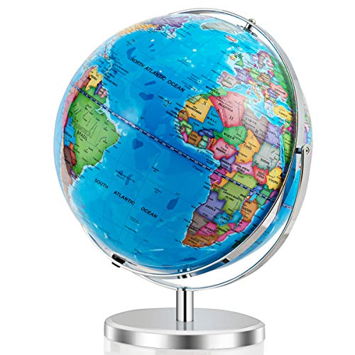 Goplus Desktop World Globe, Educational Geographic World Globe with LED Lights for Kids and Adults, 720° Rotation Decorative Globe, Easy to Read Labels Over 4000 Locations for Classroom, Office