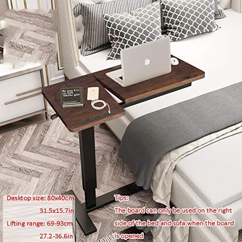 Stahlrohr Stehhilfe Klappbar Höhenverstellbar mit Braunes Massivholzbrett,Höhenverstellbar, Rollen, USB, Drehbar,Computer Table für Bett Sofa Schreibtisch Laptop Bettablage Tragbarer MacBook Schreibt