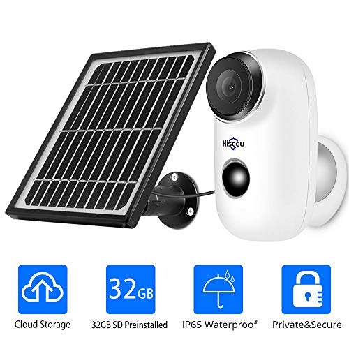 1080P Solar Wireless Camera,Outdoor Security Camera,App Remote,2-Way Audio,Motion Alert,Rechargeable...