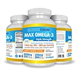 Max Omega 3 Fish Oil Pills - Triple Strength Fish Oil Supplement (2000 mg Total Omega 3 Fatty Acids: 600mg DHA + 800 mg EPA per Serving)