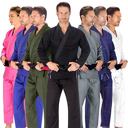 Elite Sports BJJ GI for Men IBJJF Kimono BJJ Jiu Jitsu Lightweight GIS W/Preshrunk Fabric & Free Belt (Black, A4)