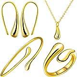 Conjunto de Pulsera Anillo Pendientes Collar de Lágrima Pendiente de Anzuelo de Colgante de Gota de Lágrima (Oro)