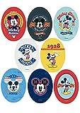 24 Parches termoadhesivos para la ropa. Apliques serigrafiados para planchar sobre camisetas, bata escolar, jeans, chaquetas. Diseño personajes Disney: Mickey Mouse - REF. 6884-U24