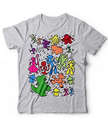 Generico T-Shirt Ispirato Toy Story Woody Buzz Lightyear mr Potato Keith Haring Funny Tshirt Maglietta (L, Grigio Melange)