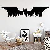 Gran Batman City Vinilo Adhesivo De Pared Para Bebés Habitaciones De Niños Decoración Tatuajes De Pared Decoración Pegatinas En La Pared Mural-58X12Cm