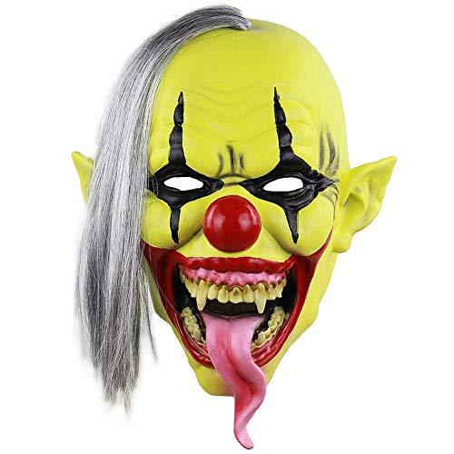 Hankyky Máscara de Payaso Máscara de Payaso de Halloween Máscara de Bola de Terror de Halloween Máscara Calva de Pelo Rizado