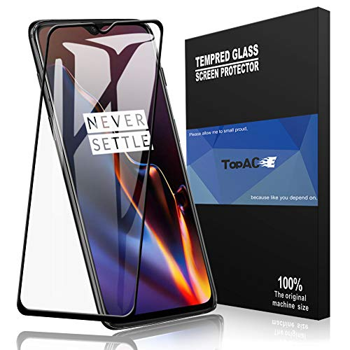 ?Full Glue Coverage? TopACE Bye-Bye-Bubble Premium Quality Full Screen Coverage 5D Anti-Scratch 9H Hardness Tempered Glass Screen Protector Film for OnePlus 6T (Black)