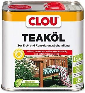 Clou Teaköl: Holzöl zum Imprägnieren, Auffrischen & Pflegen, Innen & Aussen, UV-Schutz, Farblos, 2,5 L