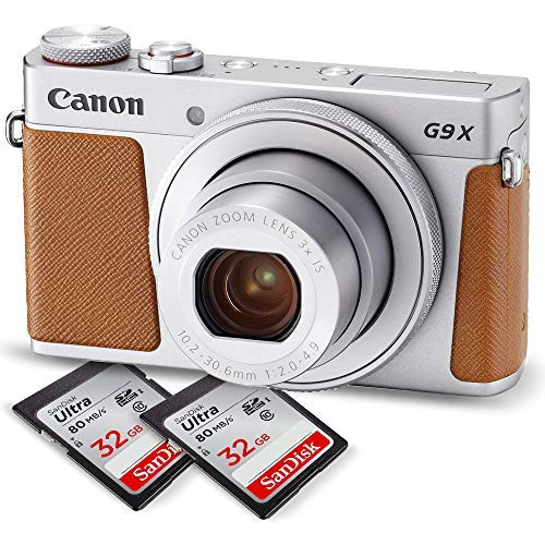 Canon PowerShot G9 X Mark II Digital Camera (Silver) W/Total of 64GB SD Card.