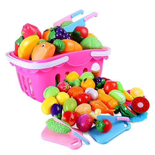 Tosbess 37 Piezas de Juguetes Cortar Frutas Verduras de Plástico ABS para Niños Juguetes Eeducativos Set de Alimentos de Corte Juguete del Bebé para 3+ niño