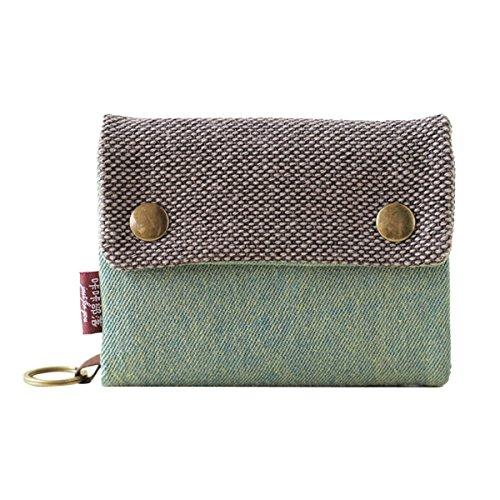 Butterme Geldbörse, 3 Fächer, aus Canvas mit Denim-Streifen, Portemonnaie mit Reißverschluss-Taschen, Kartenfach, mit Ring zum Aufhängen grün
