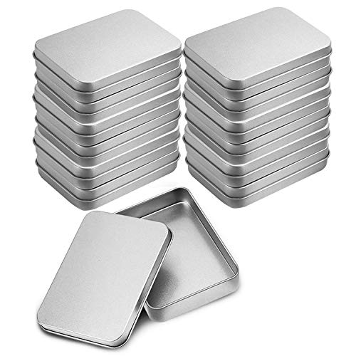 Pack 12 Piezas Latas Pequeñas Rectangulares de Metal - Latas Vacías Tapas sin Bisagras - Contenedores 9cm x 6cm x 1,9cm para Kits de Primeros Auxilios, Viajes, Especias, Geocaching, Dulces, Piezas de Juegos