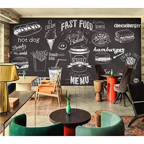Papel tapiz personalizado 3d retro street graffiti mural personalidad bar herramientas pintado a mano pizarra periódico comida fondo pared 250x175cm