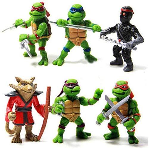 LINRUS Teenage Mutant Ninja Turtles Toys 6 Piece Set PVC Action Figures Leonardo Handicraft Models Figure -TMNT Set for Kids Birthday Collection 1 9 Inches