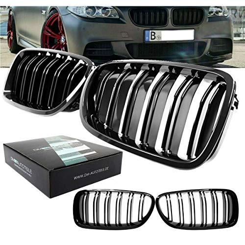 DM Autoteile für 5er F10 F11 F18 passend Kühlergrill Schwarz Glanz Doppelsteg auch M M5 bj 10-17