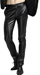 Men's Skinny Straight Leg Tapered Pu Faux Leather Motorcycle Biker Pants