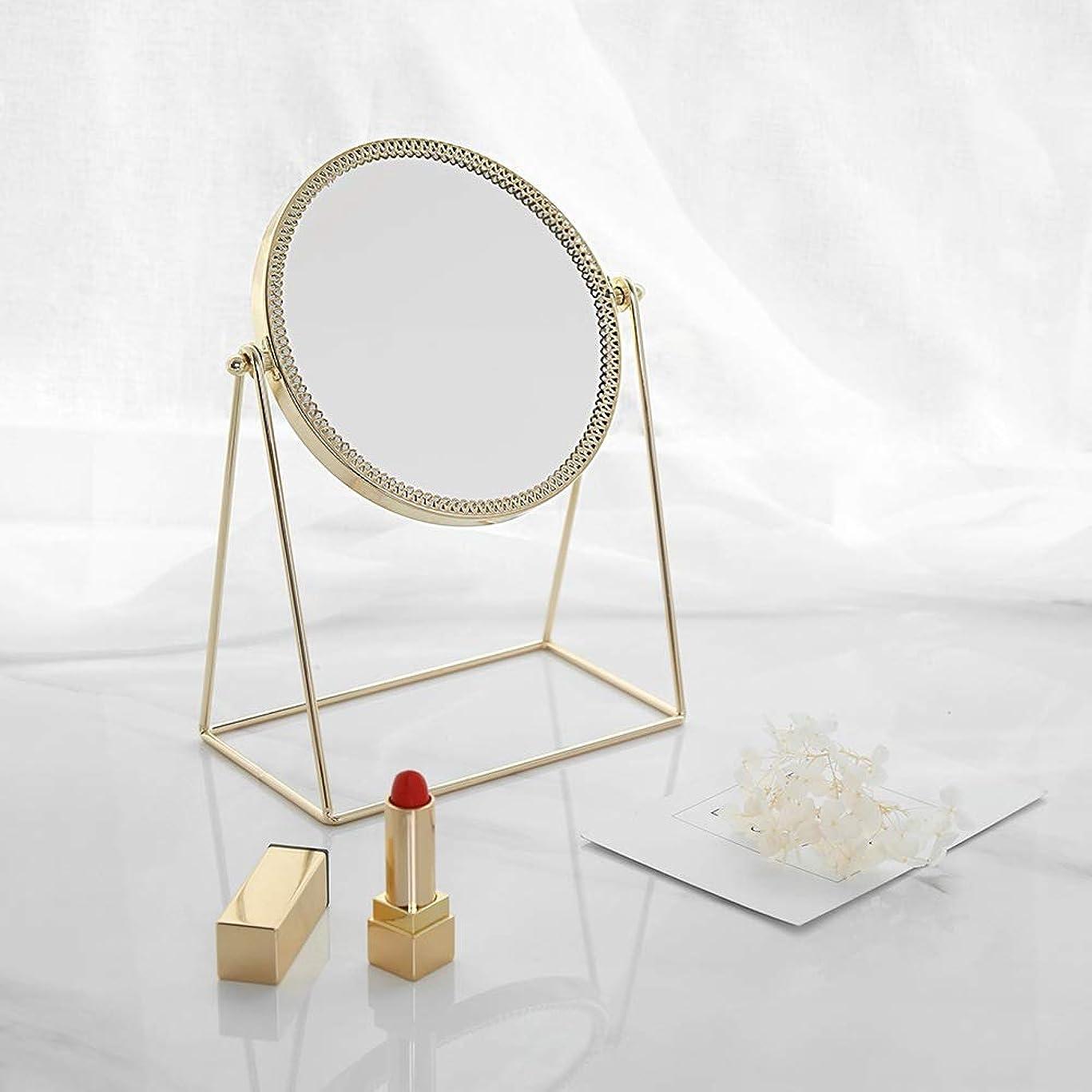 ピッチャー職業トチの実の木流行の 現代の創造性ゴールドラウンドアイアンフレーム+ミラーデスクトップミラー/化粧鏡