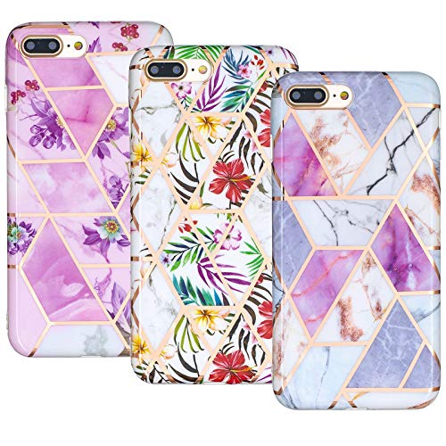 JZ 3-Pack Marble Design Funda Compatible with iPhone 6S Plus / 6 Plus TPU Soft Rubber Silicone Phone Cover - B