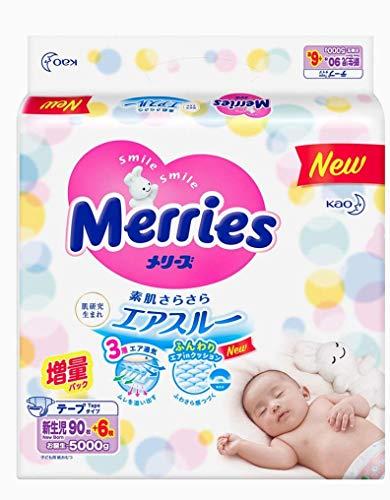 Japanische Windeln Merries NB (Neugeborene) 0-5 kg 90+6 Stk. ///nic осские соссски Merries NB (Neugeborene) 0-5 kg 90+6 х