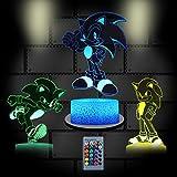 OMGGMO 3D Anime Sonic The Hedgehog Night Light, Sonic Toys Table Light for Kids Bedroom Decoration,...