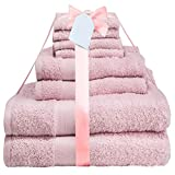 Midland Bedding 8 Piece Bale Cotton Towel Set, Multiple Colours in 400 GSM Thread Count (Blush)