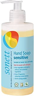 Sonett Organic Hand Soap Sensitive Liquid Body Care Suitable For Hands, Face And Body (1 Count) Certified Organically Grown