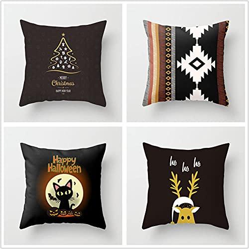 Super Suave Funda de Almohada, Navidad Negra 4 Pack Algodón Lino Throw Pillow Case Fundas de Cojines para Cojín Hogar Decorativa Almohada para Sofá Coche Cama Sillas 50x50cm(20x20in)