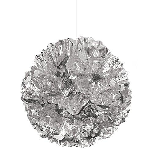 Unique Party- Pompón de Papel para Colgar, 40,6 cm, desechable, lámina Plateada, 1 Unidad, Color Aluminio, 40 cm (62904)
