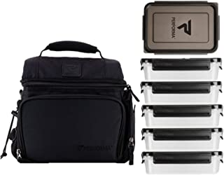 PERFORMA Meal Prep Bag - Easy to Use 6 Meal Prep Kit, Spacious, Organized Matrix, and Durable To Accommodate Your Daily Meal (Black)