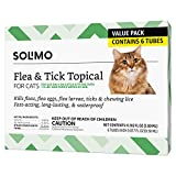 Amazon Brand - Solimo Flea and Tick Topical Treatment for Cats (over 1.5 pounds), 6 Doses
