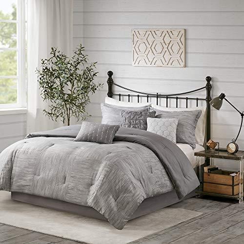 """Madison Park Walter Comforter-Luxe Seersucker Print Design All Season Down Alternative Bedding, Matching Shams, Bedskirt, Decorative Pillows, Queen(90""""x90""""), Grey"""