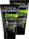 L'Oréal Men Expert Pur Charbon Gel Nettoyant Multi-Purifiant Visage pour Homme 100 ml - Lot de 2
