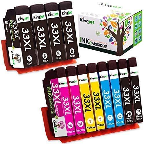 Kingjet – Cartuchos de tinta para Epson 33 33XL compatibles con Epson Expression Premium XP-640 XP-530 XP-830 XP-635 XP-630 XP-540 XP-645 XP-900 4 Negro//2 Cian/2 Magenta/2Amarillo, 12 unidades