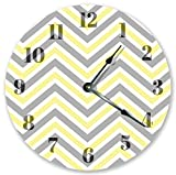 Sugar Vine Art Grey and Yellow Chevron Silent Non Ticking Round Battery Operated Handmade Hanging Large10.5 Inch Wall Clock for Bedroom Office Cottage Decoration